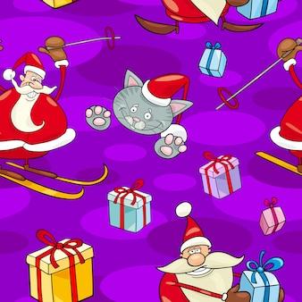 Padrão sem emenda dos desenhos animados de natal