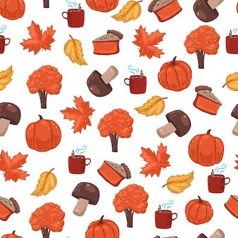 Padrão sem emenda dos desenhos animados de vetor outono em fundo branco.