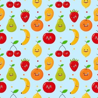 Padrão sem emenda dos desenhos animados frutas tropicais caracteres estilo kawaii. isolado em azul.