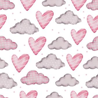Padrão sem emenda dos namorados com coração, nuvem. Vetor grátis
