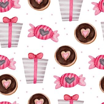Padrão sem emenda dos namorados com presentes, chocolate, bolo.