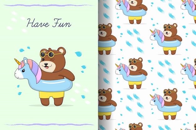 Padrão sem emenda e cartão com anel de borracha de unicórnio de borracha de urso fofo