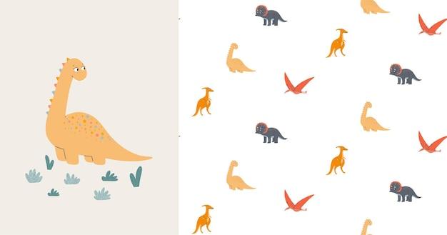 Padrão sem emenda e cartão com dinossauros bonitos. era pré-histórica. ilustração infantil.
