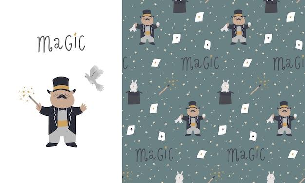 Padrão sem emenda e cartão com elementos fofos para truques, chapéu, lebre, varinha mágica, caixa mágica, pomba. ilustração das crianças