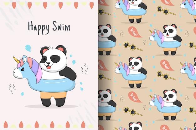 Padrão sem emenda e cartão de unicórnio de borracha de panda fofo