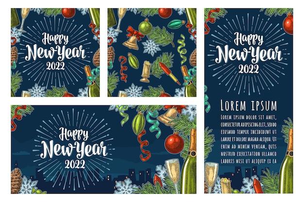 Padrão sem emenda e pôsteres com letras de feliz ano novo 2018