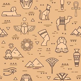 Padrão sem emenda egípcio de símbolos, pontos de referência e sinais do egito