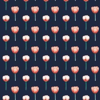 Padrão sem emenda elegante de tulipas aquarela