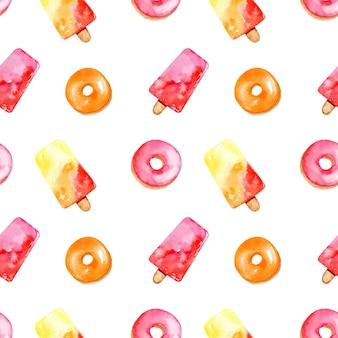 Padrão sem emenda em aquarela brilhante com sorvete colorido e sobremesa de frutas glaceada