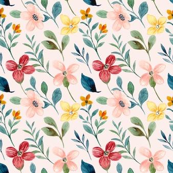 Padrão sem emenda em aquarela colorida de flores silvestres