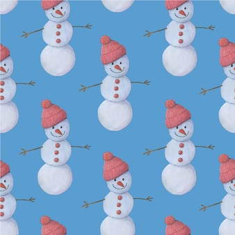 Padrão sem emenda em aquarela com bonecos de neve bonitos dos desenhos animados padrão de natal