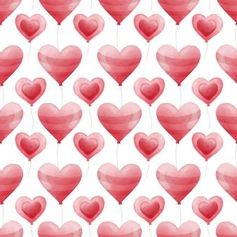 Padrão sem emenda em aquarela de balão de coração