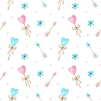 Padrão sem emenda em aquarela de dia dos namorados com pirulitos, setas, flores e confetes em forma de coração azul e rosa