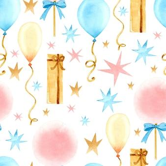 Padrão sem emenda em aquarela de festa de aniversário
