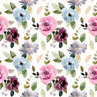 padrão sem emenda em aquarela de flor azul bordô