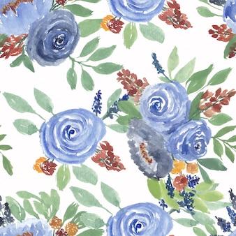 Padrão sem emenda em aquarela de flor rosa azul