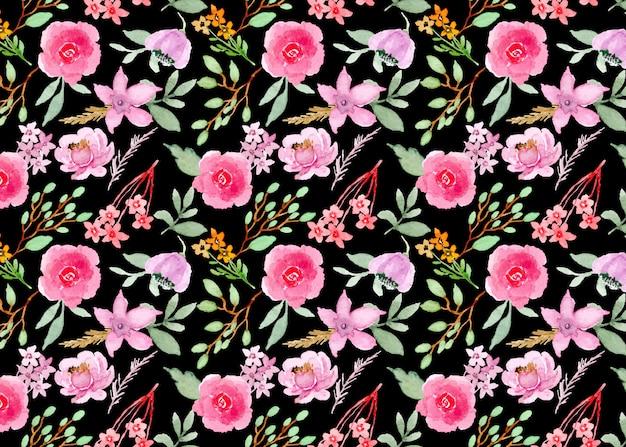 Padrão sem emenda em aquarela de flor rosa roxa