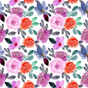 Padrão sem emenda em aquarela de flor roxa e laranja