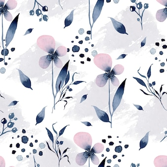 Padrão sem emenda em aquarela de flores cinza violeta em fundo de manchas cinza