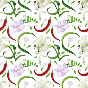 Padrão sem emenda em aquarela de flores tropicais e pimentão vermelho