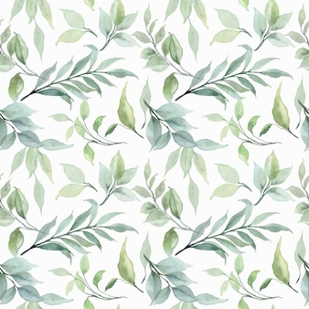Padrão sem emenda em aquarela de folhas verdes