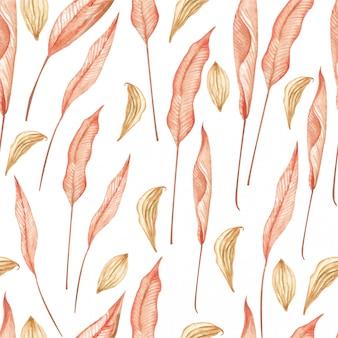 Padrão sem emenda em aquarela de folhas vermelhas exóticas