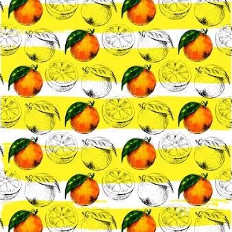 Padrão sem emenda em aquarela de fruta laranja com folhas.