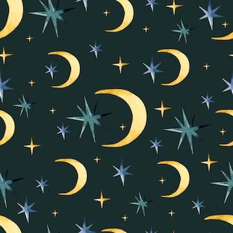 Padrão sem emenda em aquarela de lua mágica e estrelas