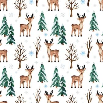 Padrão sem emenda em aquarela de natal com veados e pinheiros