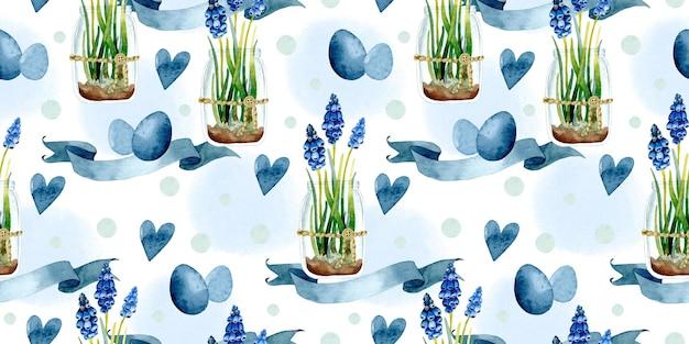 Padrão sem emenda em aquarela de ovos de páscoa de jacinto