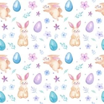 Padrão sem emenda em aquarela de páscoa com coelhos