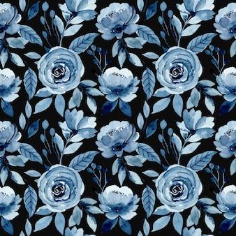 Padrão sem emenda em aquarela floral azul