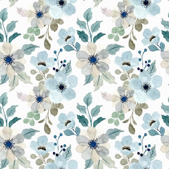 Padrão sem emenda em aquarela floral cinza azul suave