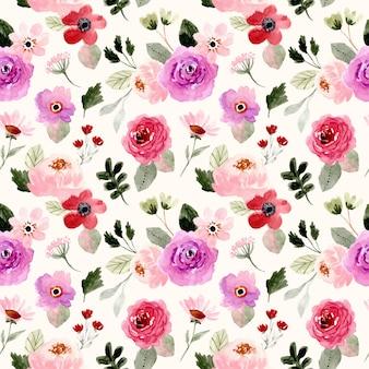 Padrão sem emenda em aquarela floral colorido bonito