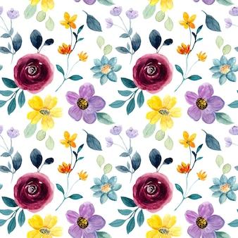 Padrão sem emenda em aquarela floral colorido