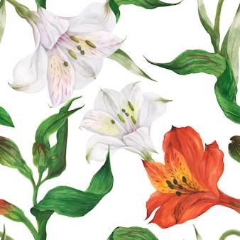 Padrão sem emenda em aquarela floral com flores vermelhas e brancas de alstroemeria