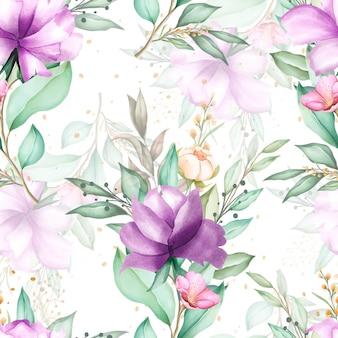 Padrão sem emenda em aquarela floral mão desenhada