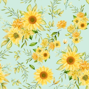 Padrão sem emenda em aquarela floral romântico