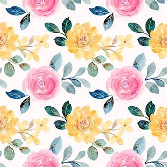 Padrão sem emenda em aquarela floral rosa amarelo