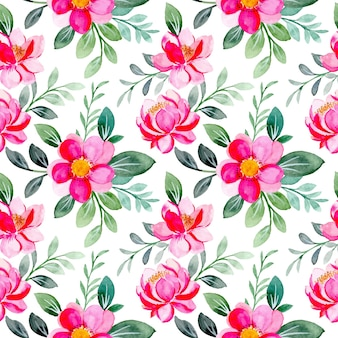 Padrão sem emenda em aquarela floral rosa e folhas verdes