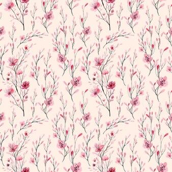 Padrão sem emenda em aquarela floral rosa