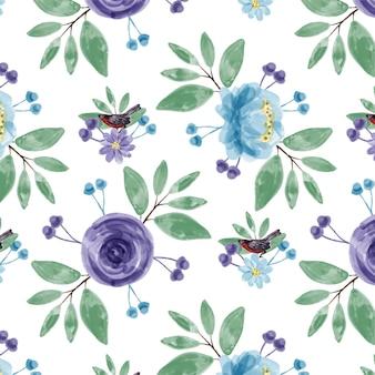 Padrão sem emenda em aquarela floral roxo azul