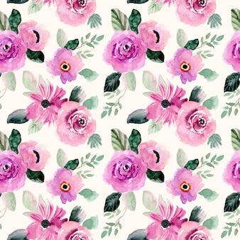 Padrão sem emenda em aquarela floral roxo