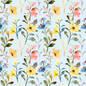 Padrão sem emenda em aquarela floral selvagem amarelo e azul