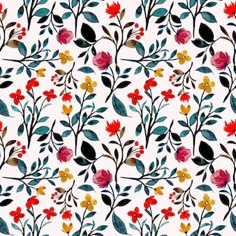 Padrão sem emenda em aquarela floral selvagem colorido