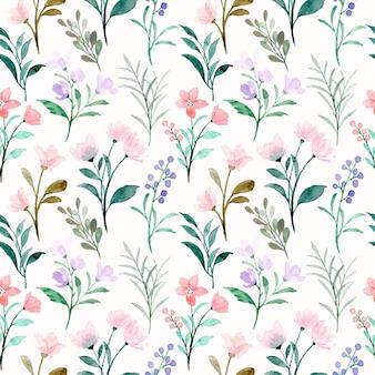 Padrão sem emenda em aquarela floral selvagem rosa roxo suave