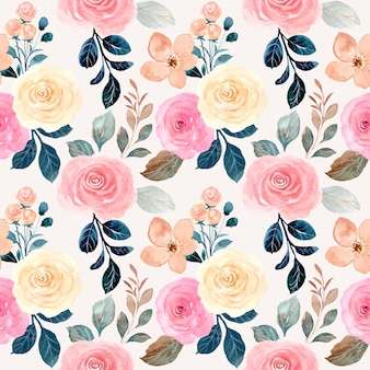 Padrão sem emenda em aquarela linda flor rosa