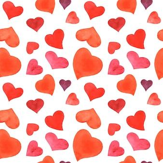 Padrão sem emenda em aquarela romântica com corações vermelhos