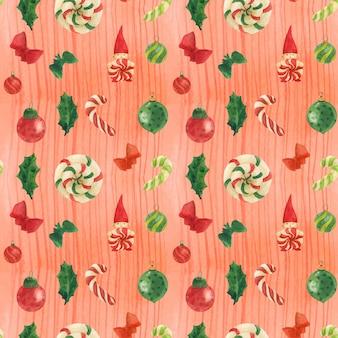 Padrão sem emenda em aquarela vermelho natal aquarela rastreada com bastões de gnomo e doces e enfeites de vidro