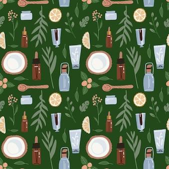 Padrão sem emenda em backgraund verde. ingridients cosméticos naturais e garrafas, potes, tubos.